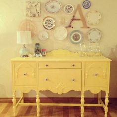 Plates on wall Painted furniture makeovers. Paint Furniture, Furniture Projects, Furniture Making, Furniture Makeover, Home Projects, Cheap Furniture, Furniture Websites, Furniture Design, Repurposed Furniture