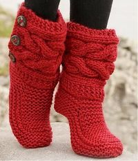 """Little Red Riding Slippers - Slippers with cables in Eskimo by DROPS design DIY Knit Slipper Boots Free Patterns by DROPS Design. My favorite: the Little Red Riding Hood Slippers. (via truebluemeandyou) These Knitted DROPS slippers with cables in """"Eskim Crochet Slipper Boots, Knitted Slippers, Women's Slippers, Knit Slippers Free Pattern, Knitting Patterns Free, Free Knitting, Crochet Patterns, Crochet Ideas, Knitting Projects"""