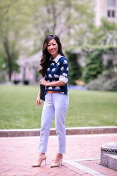 Elephant sweater + oxford pants + nude pumps