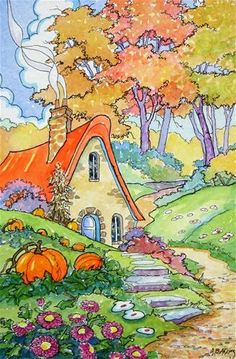 """An Autumn Rainbow Storybook Cottage Series"" - Original Fine Art for Sale - � Alida Akers"