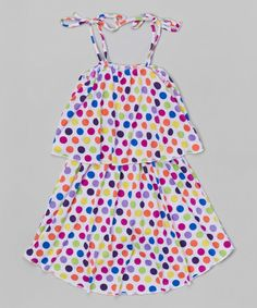 Love this Blue Polka Dot Tiered Dress - Toddler & Girls by S.W.A.K. on #zulily! #zulilyfinds