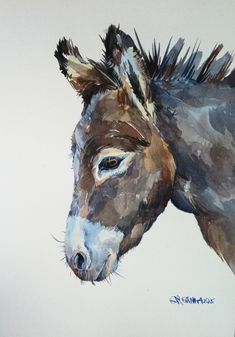 Donkey Portrait, Farm Animal ORIGINAL WATERCOLOR PAINTING Free Shipping WorldWide by alisiasilverART on Etsy