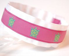 Preppy Headband Girls Pink and Green Turquoise by preppypieces, $12.00