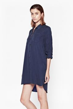 Cobalt Tencel Shirt Dress | Dresses | French Connection Usa