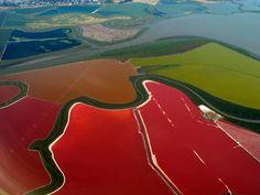 Multi colored salt ponds in San Francisco Bay