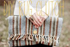 DIY Rug Clutch - I've done this with placemats, cute idea with a small rug!