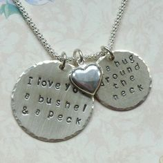 I love you a bushel and a peck hand stamped sterling silver necklace by #dolphinmooncreations #artfiregifts
