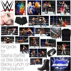 Ringside for Sasha Banks vs Brie Bella vs Becky Lynch on Smackdown