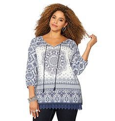 AVENUE Womens Medallion Crochet Trim Peasant Top 2628 Navy >>> Learn more by visiting the image link.Note:It is affiliate link to Amazon.