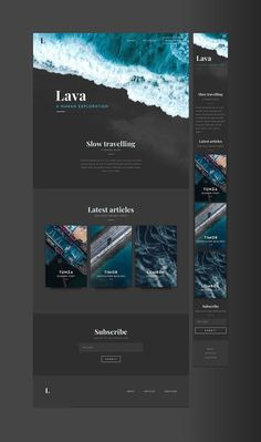 Looking for a stylish to share your story? The Lava kit is a responsive pack with a contemporary Whether you are a nomad, travel or cultural enthusiast look no further! Layout Design, Kit Design, Website Design Layout, Design Blog, Web Design Company, Web Layout, Logo Design, Travel Website Design, Travel Design