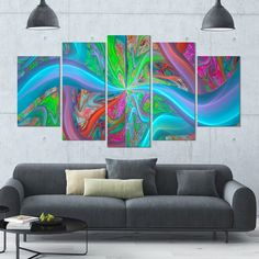 Designart 'Blue Fractal Curves' Abstract Wall Art on Canvas - 60x32 - 5 Panels Diamond Shape