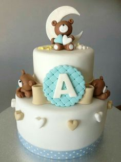 Hermosa! Torta Baby Shower, Baby Boy Cakes, Cakes For Boys, Fancy Cakes, Cute Cakes, Fondant Cakes, Cupcake Cakes, Christening Cake Boy, Cupcakes Decorados