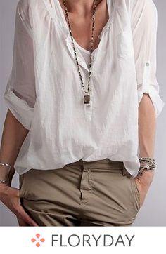 f31b2c0339a Solid Cotton V-Neckline Half Sleeve Blouses