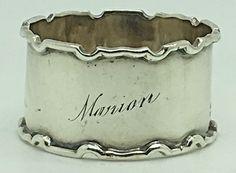 Vintage Sterling Silver Napkin Ring Holder Name Marion Monogram Adie Brothers Silver Napkin Rings, Monogram, Sterling Silver, Vintage, Ebay, Monograms