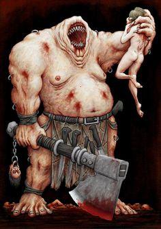 Artist: James Flaxman eating human flesh, hell , satan seeks to kill and devour, and destroy, lies,