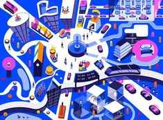 Lots of Lobbies and Zero Zombies: How Self-Driving Cars Will Reshape Cities City Car, Self Driving, Lobbies, Space Travel, Flat Illustration, Illustrators, Kids Rugs, Concept, Cars