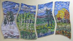 """Through the Seasons, UMASS Medical Center commission, Worcester, Massachusetts, 60""""w x 36""""h by Big Bang Mosaics"""