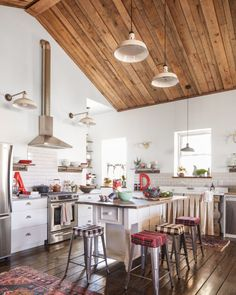 Industrial farmhouse cabin kitchen