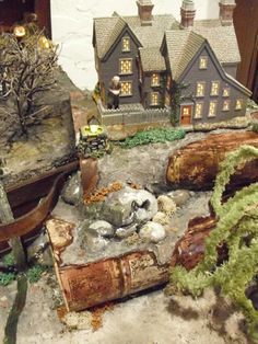 "Halloween Village Display / Dept. 56 Halloween Display / Department 56 New England Village ""The Gables"" -  from Building New Worlds website!"