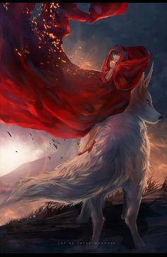 Little Red and the Wolf Red Riding Hood Wolf, Little Red Ridding Hood, Anime Wolf, World Of Fantasy, Dark Fantasy, Arte Digital Fantasy, Art Manga, Big Bad Wolf, Wolf Spirit