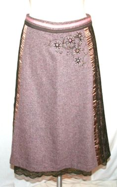 Anthropologie Elevenses Brown Tweed and Lace Embellished Skirt
