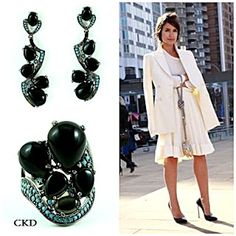 : Que tal este conjunto de rodium negro com onix e turquesas!! www.ckdsemijoias.com.br .