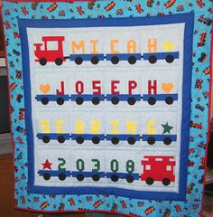 Train Birth Record Quilt made for Micah.