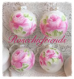 """3.25"""" ORNAMENTS White Glass Hand Painted PINK Roses Glass Round Ball ecs SVFTeam sct schteam by RoseChicFriends on Etsy"""