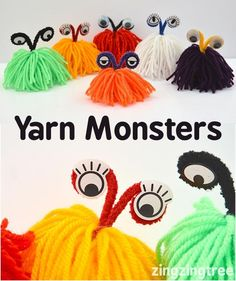 Yarn Monster -= how cute are these monsters made from wool.  perfect kids craft for Halloween or any monster loving children.