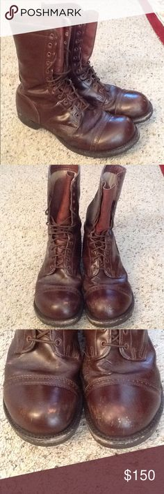 VINTAGE CORCORAN 1510 FIELD MILITARY LEATHER BOOTS Corcoran 1510 sz 13 EE vintage brown leather jump, military, paratrooper boots.  Nice vintage condition. Gorgeous patina.  Original laces.  RARE in this size.  Amazing boots!  Will ship right away.  Check out my other designer items Vintage Shoes Boots