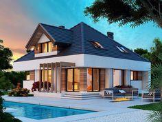 DOM.PL™ - Projekt domu DM Opałek X 2G CE - DOM GM3-32 - gotowy koszt budowy Architectural House Plans, Audi S5, Home Fashion, Home Projects, Exterior, Mansions, House Styles, Minecraft Pe, Home Decor