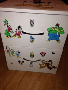 Hand drawn and painted bedside table for my niece :)