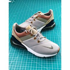 Nike Air Max 270 Premium Rear Half Palm Air All-Match Jogging Shoes  Stitching Leather Soldier Grey Brown Gold 73c38ba58