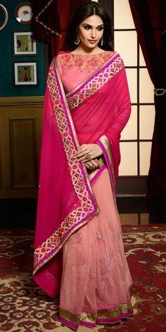 Deep Pink Color Saree With Wonderful Plain Pallu.