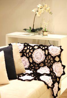 Crochê de grampo Hairpin lace  horquilla ganchillo crochet blanket