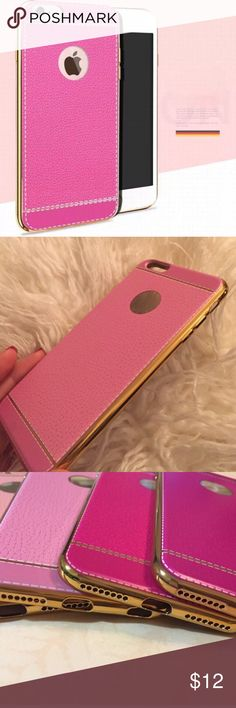 Luxury pink leather Iphone 6 Plus Case 💕 💕✨Vegan leather pink iphone 6 Plus Case with gold sides. Slim fit. Lightweight. Boutique quality.✨💕 Accessories Phone Cases