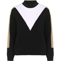 TOPSHOP PETITE Colour Block Sweat (355 DKK) ❤ liked on Polyvore featuring tops, hoodies, sweatshirts, multi, petite, topshop tops, topshop, petite sweatshirts, color block sweatshirt and high neck sweatshirt
