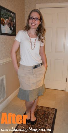 refashion: swingy pleated skirt from men's khaki pants and plaid shirt