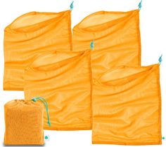 """Bag The Habit_Produce bags_set of 4 with pouch_$19.99_Made from REPREVE® Recycled  Polyeste_POUCH: 5""""W x 6""""H • BAGS: 12""""W x 15""""H"""
