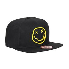 Nirvana Smiley Snapback Hat Hot Topic ($18) ❤ liked on Polyvore featuring accessories, hats, snap back hats, logo hats, black snap back hat, black wool hat and adjustable hats