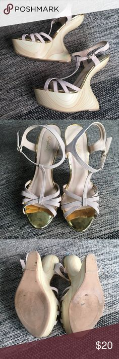 Heels Lady Gaga style nude curved heels, in amazing condition. Qupid Shoes Heels