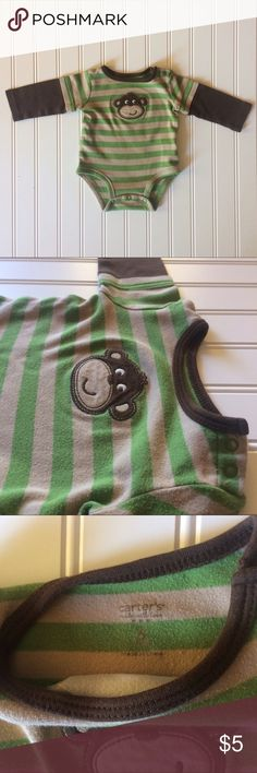 Carter's Green & Brown Striped Monkey Onesie, 6M Gently used Carter's green and brown striped monkey onesie with left shoulder clasps for a 6 month child. Carter's One Pieces Bodysuits