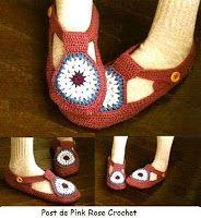 \ PINK ROSE CROCHET /: Sapatilha de Crochê - Room Shoes