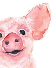 Watercolor Painting of Piglet Pig Wall Art Baby Animal Nursery Decor Gift for her Pig Lover Gift Original Watercolor Painting Pig Decor Zeichnen Tipps Malen Travel Sticker, Baby Animal Nursery, Baby Animals, Pig Art, Baby Wall Art, Baby Art, Pink Wall Art, Watercolor Animals, Watercolor Art