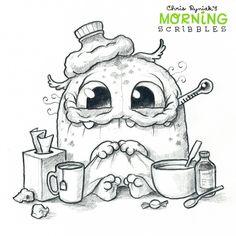 Chris Ryniak is creating Friendly Monster Drawings! Cute Monsters Drawings, Cartoon Monsters, Little Monsters, Sick Drawings, Funny Drawings, Cartoon Drawings, Doodle Monster, Monster Drawing, Coloring Books
