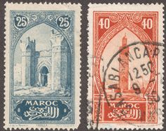 "1923 -27 issue: 25c ultra ""City Gate Chelia"" 40c orange red """"Koutoubiah, Marrakesh"" The 1923-27 issue borrows many of the same scenes from the 1917 issue, but usually is printed in a different color, other than the stamps mentioned previously. This 26 stamp issue was printed in photogravure, and has an identifying ""Helio Vaugirard"" imprint on the lower right margin of the stamp."