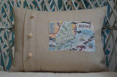 This Maine postcard pillow features hand tied rope buttons made by a retired merchant marine sailor! He is years of age! Our pillows are made from Belgian linen and are available in 3 styles and 2 sizes! Merchant Marine, Custom Pillows, Vintage Postcards, Sailor, Diaper Bag, Maine, Buttons, Throw Pillows, Handmade