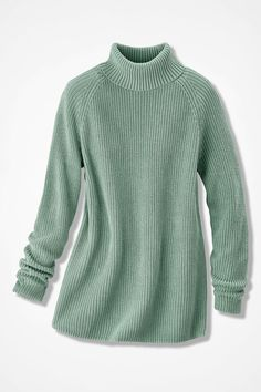 Shaker Turtleneck Tunic, Agave Green