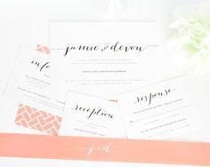Invitaciones de boda color coral