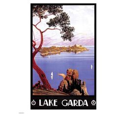 Vintage Travel Lake Garda Print (€17) ❤ liked on Polyvore featuring home, home decor, wall art, white wall art, vintage home accessories, vintage wall art, white home decor and lake home decor